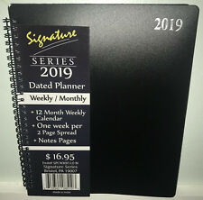 """NEW 2019 Weekly Monthly Planner Signature Series Calendar Black Spiral 8""""x10"""""""