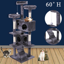 """Cat Tree Tower Condo Furniture Scratching Post Pet Kitty Play House Gray 60"""""""
