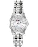 Bulova Women's Quartz Diamond Accent Silver-Tone Bracelet 30mm Watch 96P179