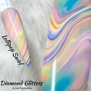 Nail Art Transfer Foil 1m Pastel Rainbow Marble Full Coverage Lollipop Swirl