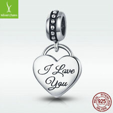 925 Sterling Silver Charm Bead I Love You Heart Dangle Pendant Fit Bridal Chain