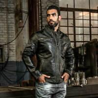 Mens Biker Vintage Motorcycle Distressed Black Cafe Racer Real Leather Jacket