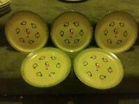 Set 5 Handmade Stoneware Christmas Dinner Plates Signed Stovinsky 88 Santa Horn