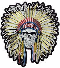 "Indian Warrior Chief Skull Headdress Biker Rider Jumbo XL Back Patch 10""/25cm"