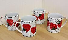 Vintage Takahashi Strawberry Polka Dot Mug San Francisco BEAUTIFUL -70s Set of 4