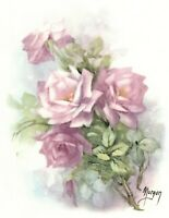 Morgan Pink Rose Spray Flower Select-A-Size Waterslide Ceramic Decals Ox