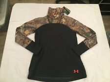 NWT $79.99 Under Armour Women CG Mid Season Cozy Neck Shirt Black Realtree LARGE