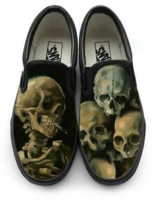 Van Gogh Smoking Skeleton Slip-on Vans Brand Shoes