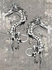 ART PRINT POSTER PAINTING DRAWING TATTOO SKETCH FLYING DRAGON FIRE LFMP0677