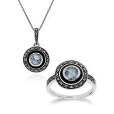 Conjuntos de joyas con diamantes o gemas de plata de ley topacio