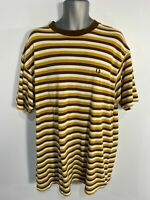 MENS FRED PERRY XLARGE XL BROWN/YELLOW MIX STRIPED CREW NECK CASUAL TOP T-SHIRT