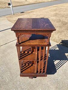 Antique Oak Revolving Danner Bookcase