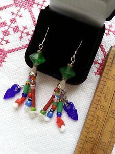 Antique jazzy TASSEL EARRINGS uranium glass vtg  Africa Trade multi-colour .925