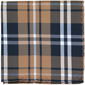 New men's polyester woven plaid hankie pocket square formal black brown white