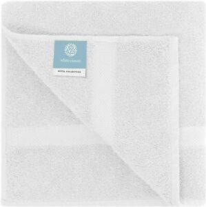 4 Luxury White Bath Towels Large - 700 GSM Circlet Egyptian Cotton | Absorbent