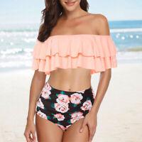 Damenmode Zweiteiliger Volant hoch taillierter Bikini Schulterfrei Badeanzug L/P