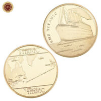 WR 24K Titanic Gold Coin Medal Ship Voyage Map Amazing Collectible Gifts London