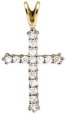 Solid 10k Yellow Gold Cross One Row Genuine Diamond 1 Inch Pendant Charm 0.25ct.