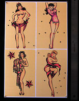 55 Pin Up Girls 1 SHEET vintage Sailor Jerry StyleTattoo Traditional Flash print