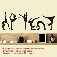 Gymnastics Girls Set of Six / Wall Art Vinyl Decal Stickers Decor