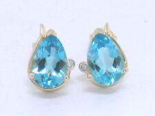 Blautopas Ohrstecker 585 Gelbgold 14Kt Gold natürlicher beh. Blautopas Diamanten