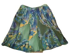 AERO LABEL SIZE 16 Italian Cotton Silk LINED Blue Green Panel SKIRT RRP $159.99