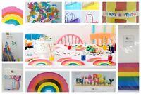 Rainbow birthday brights party tableware cups napkins plates straws