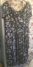 Lady Vintage Negro Y Blanco Rosas Estampado Swing Vestido Talla 20