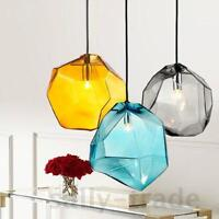 Grey/Yellow/Blue Ice Cube Crystal Glass Pendant Light Lamp Ceiling Fixture Light