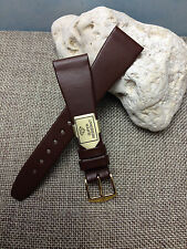 20mm BROWN HIRSCH DIAMOND GENUINE LEATHER MENS WATCH BAND STRAP GOLD BUCKLE  NEW
