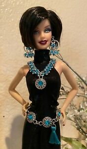Handmade Jewelry for Barbie Antique Silver and Aqua Rhinestone Belt & Jewelry