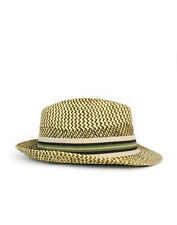 GREEN NATURAL TWO TONE SIGZAG FEDORA NATURAL FIBER
