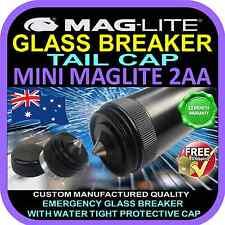 MagLite Mini 2aa Flashlight Torch Upgrade Tail Cap Glass Breaker Black