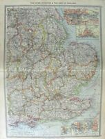 Original Old Antique Print Map 1906 England Portsmouth Dover Hull Docks 20th