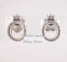 POLISHED O CROWN Genuine PANDORA Silver STUD LOGO Earrings 298295 NEW w POUCH!