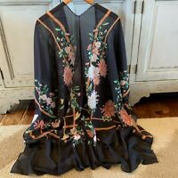 NWT Womens Black Kimono Duster Floral Jacket Vtg 70s Insp Top Plus Sizes S to 3X