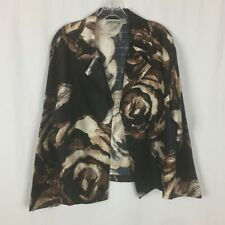 Chicos Open Front Career Blazer - Size 3 (16 ) - Brown & Ivory Abstract Print