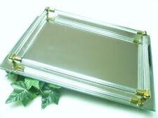 Vintage Vanity Perfume Bottle Jewelry Mirror Glass Tray Rod & Brass Caps