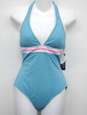 RALPH LAUREN Blue Halter One Piece Swimsuit 16 Cup C NEW