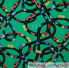 BonEful FABRIC Cotton Quilt Green Red Blue Car Road Map Baby Boy Route 66 SCRAP