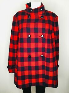 NWT $269 TALBOTS WOMAN Red Plaid Size 20W Button Front Long Sleeve Coat