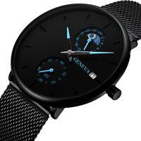 Herren Farbzeiger Kalender Mesh Band Uhr stilvolle Quarz Edelstahl Watch