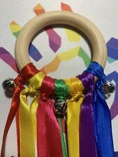 Rainbow Wooden Sensory Ribbon Ring With Bells Baby Toy Baby Shower Gift Girl Boy