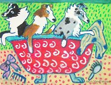 Shelties in a Tub Bathtub Shetland Sheepdog Dog Sheltie Art Print 8 x 10 Ksams