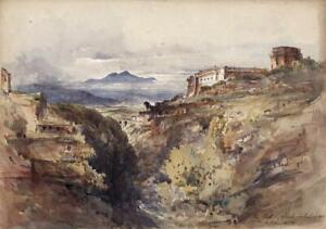 GEORGE ERNEST HOWMAN Watercolour Painting THE FORT CIVITA CASTELLANA ITALY 1852