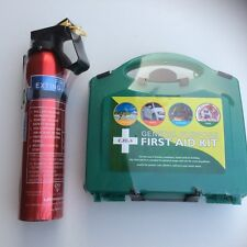 FIRE EXTINGUISHER 600g POWDER AND 40 PIECE FIRST AID KIT HOME OFFICE CAR TAXI