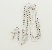 """14K White Gold Virgin Milagrosa Cross Rosary Moon Cut Beads Necklace 3mm 18"""""""