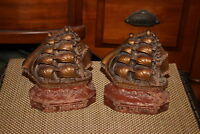 Antique Old Ironsides Nautical Sailboat Bookends Pair Resin Wood Nautical Decor