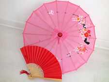 JAPANESE S PINK PARASOL RED PAPER HAND FAN CHINESE UMBRELLA WEDDING PARTY