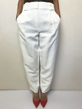 BIANCA SPENDER high waisted white pants sz 00 cotton linen, fits 10 has pockets